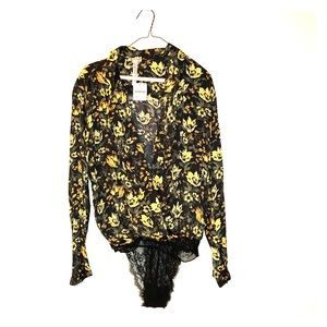 Free People, floral blouse leotard. Tags on.